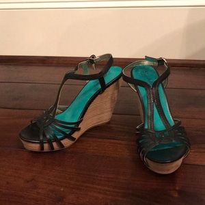 Seychelles black wedge sandals